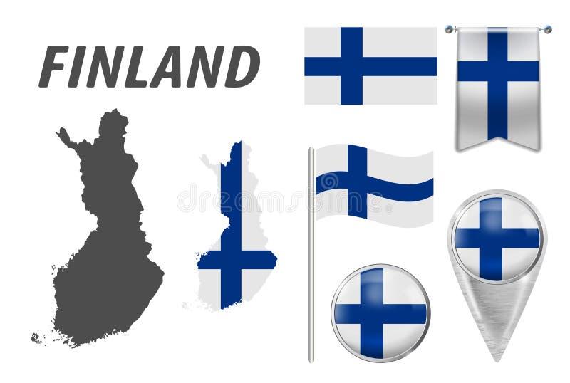 finland Coleção dos símbolos na bandeira nacional das cores nos vários objetos isolados no fundo branco Bandeira, ponteiro, botão ilustração royalty free