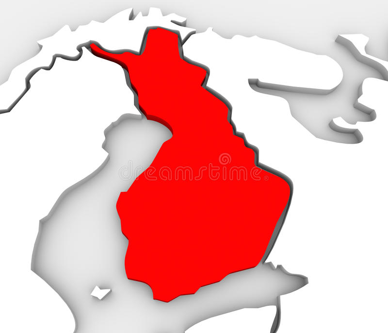 Finland Country Abstract 3D Map Europe Scandinavia Continent. Finland country on an abstract illustrated 3d map of northern Europe continent and Scandinavia stock illustration