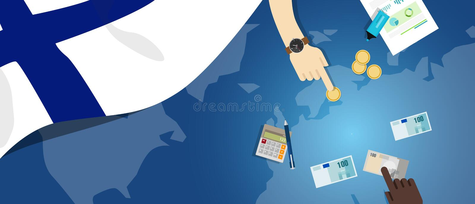Finland economy fiscal money trade concept illustration of financial banking budget with flag map and currency. Vector stock illustration