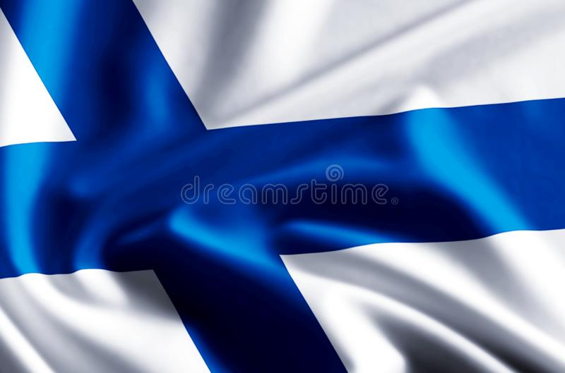 Finland flag illustration. Finland waving and closeup flag illustration. Perfect for background or texture purposes vector illustration