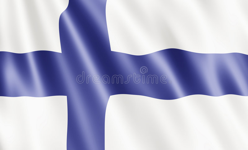 Finland Flag. Blowing In Wind vector illustration