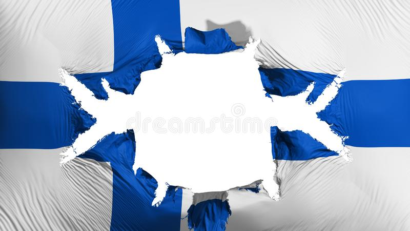 Finland flag with a big hole. White background, 3d rendering royalty free illustration