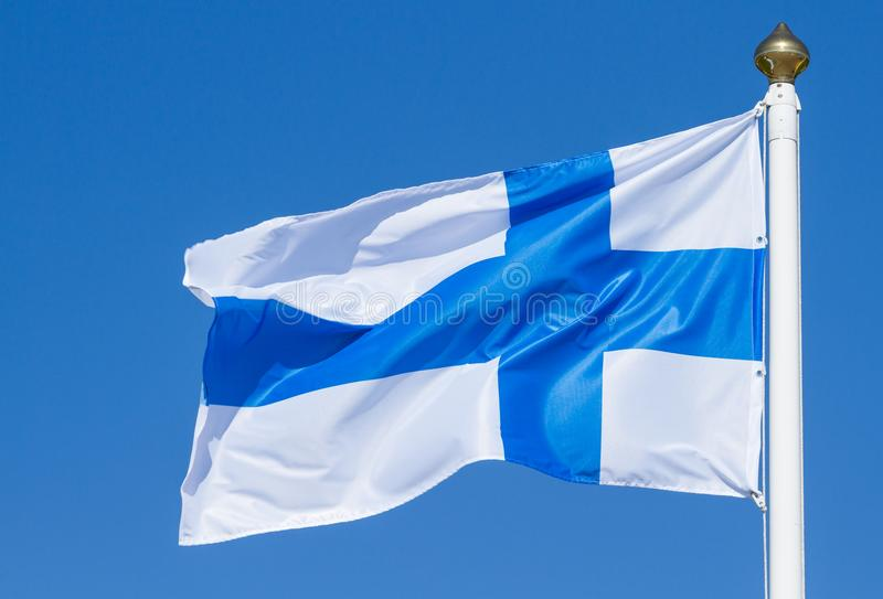 Finland flag blowing. In the wind royalty free stock image