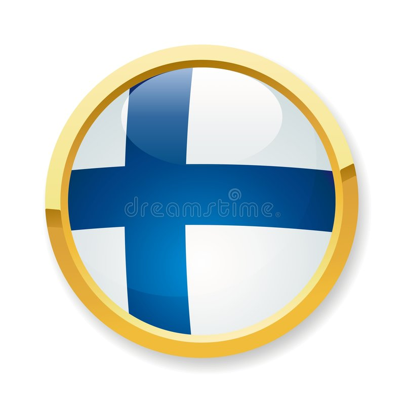 Finland flag button. A fully scalable vector illustration of Finland flag button stock illustration