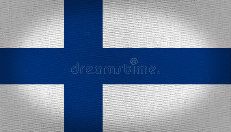 Finland flag. Composed by a big blue cross in the left side over a white back, fabric texture background vignette royalty free illustration