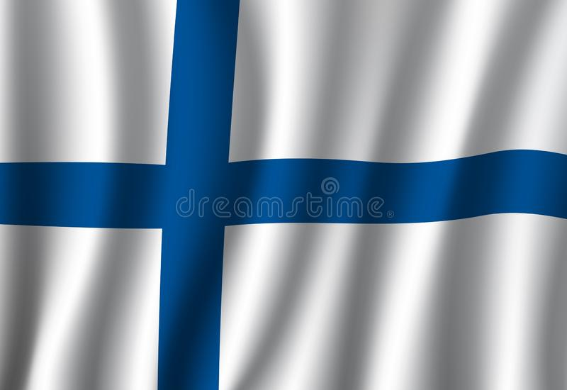 Finland flag, finnish Nordic cross national banner. Finland flag 3d vector with blue Nordic cross on white field. Finnish official national banner of European royalty free illustration