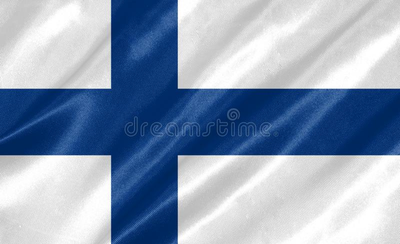 Finland Flag. With waving on satin texture stock illustration