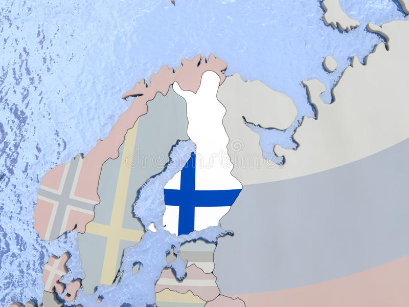 Finland with flag on globe. Map of Finland with national flag on political globe with realistic water. 3D illustration vector illustration