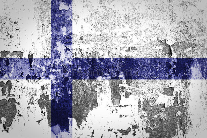 Finland flag. On grunge wall stock images