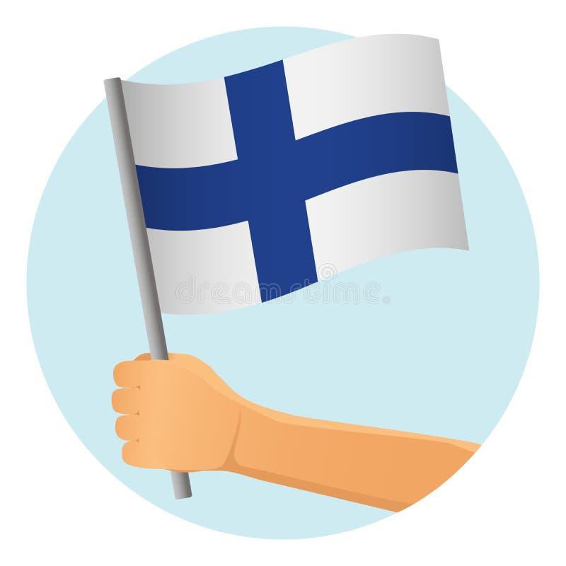 Finland flag in hand. Patriotic background. National flag of Finland vector illustration royalty free illustration