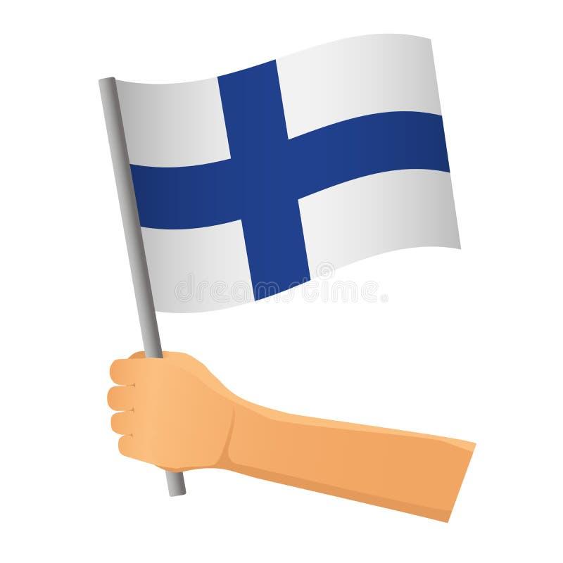 Finland flag in hand. Patriotic background. National flag of Finland vector illustration stock illustration