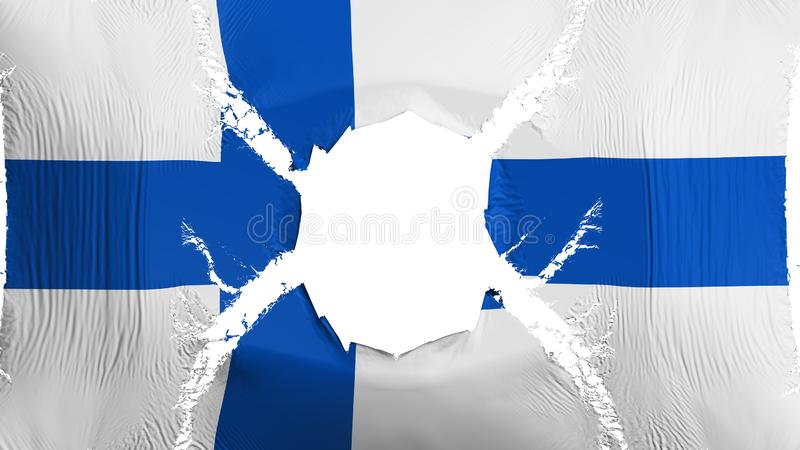 Finland flag with a hole. White background, 3d rendering vector illustration