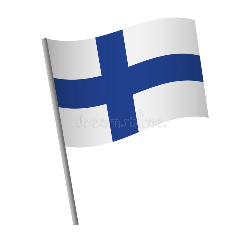 Finland flag icon. National flag of Finland on a pole vector illustration royalty free illustration