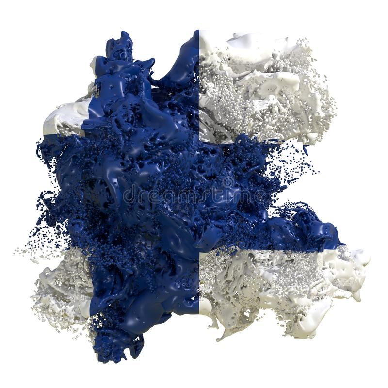 Finland flag liquid. 3d rendering of a Finland country flag in a liquid fluid. Isolated on white background vector illustration