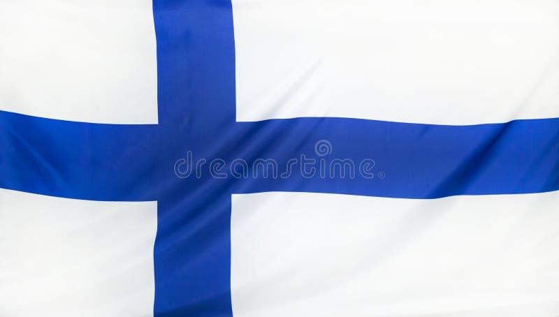 Finland Flag real fabric. Seamless close up stock photos