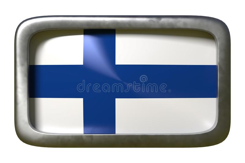 Finland flag sign. 3d rendering of a Finland flag on a rusty sign isolated on white background stock illustration