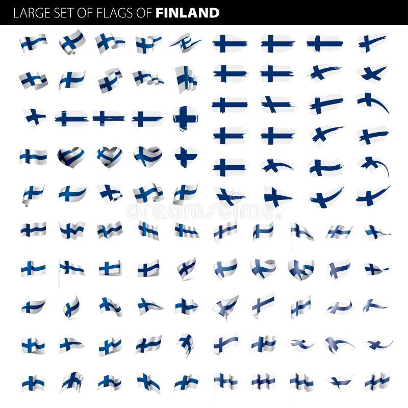 Finland flag, vector illustration. On a white background. Big set vector illustration