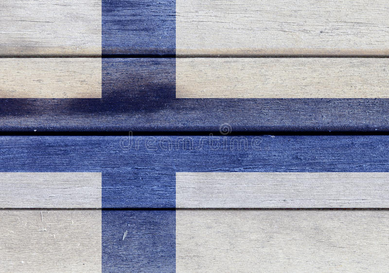 Finland flag on a wood stock illustration