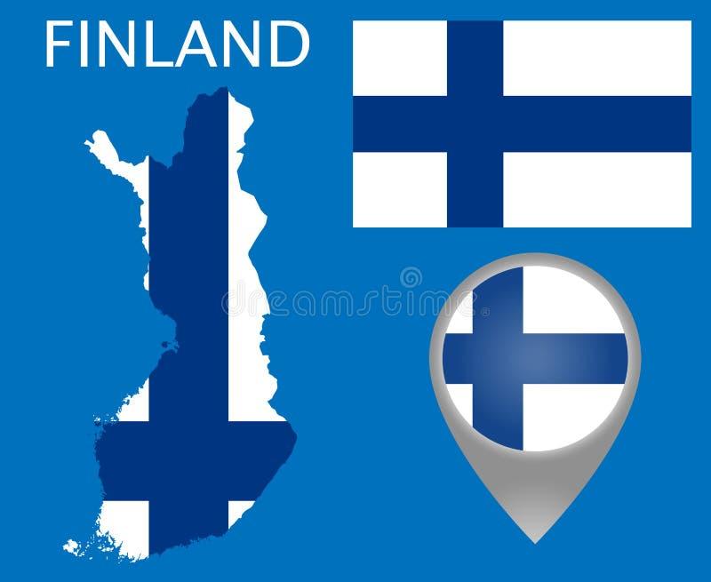 Finland flagga, översikt och översiktspekare vektor illustrationer