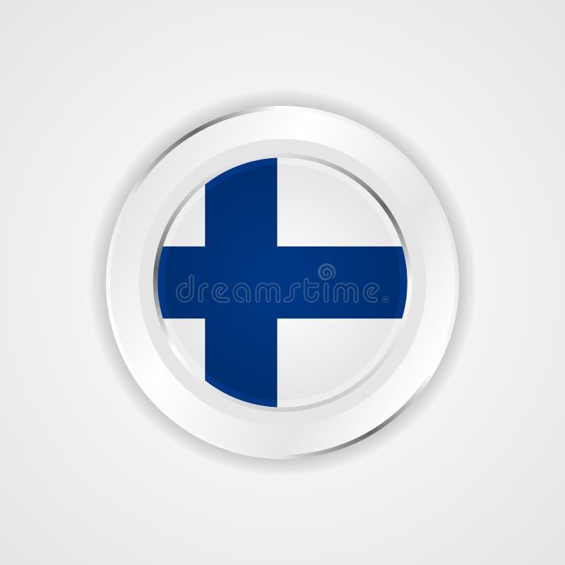 Finland flagga i glansig symbol royaltyfri illustrationer