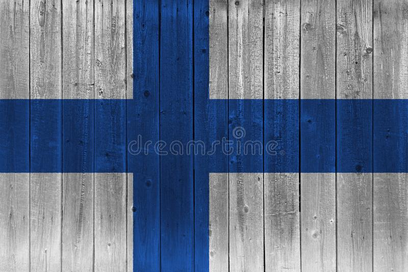 Finland flagga som målas på gammal träplanka vektor illustrationer