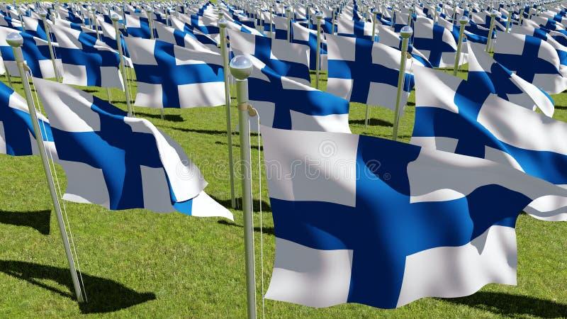 Finland flaggor som vinkar i grönt fält stock illustrationer