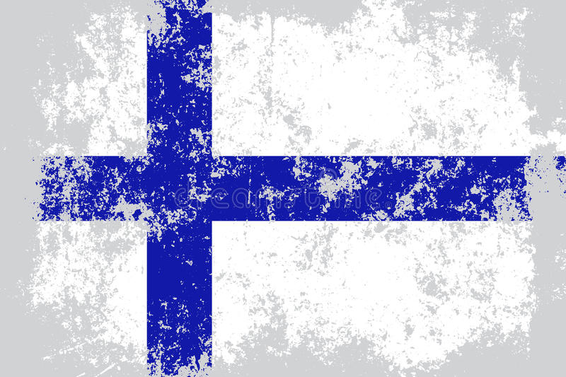 Finland grunge, old, scratched style flag.  stock illustration