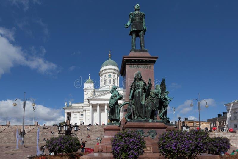 finland helsinki Het Vierkant van de senaat Monument aan Alexander II royalty-vrije stock afbeelding