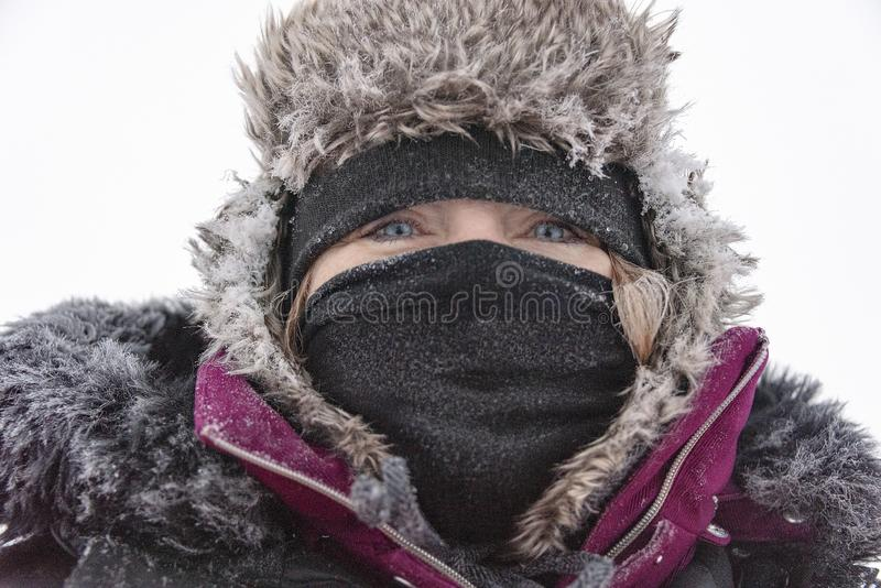 Bundled up against the cold stock images