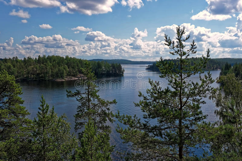 Finland. Landscape at the lake Lietvesi between Puumala and Anttola in Finland royalty free stock photography