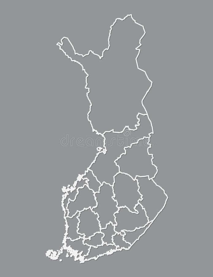 Finland map with different regions using white lines on dark background vector. Illustration vector illustration