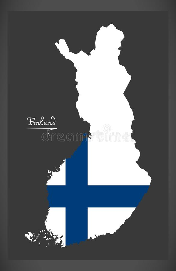 Finland map of Finland with Finnish national flag illustration. Finland map of Finland with Finnish national flag stock illustration