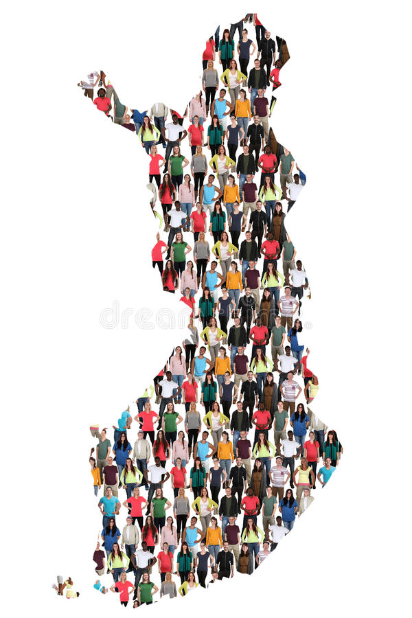 Finland map multicultural group of people integration immigration diversity royalty free stock images