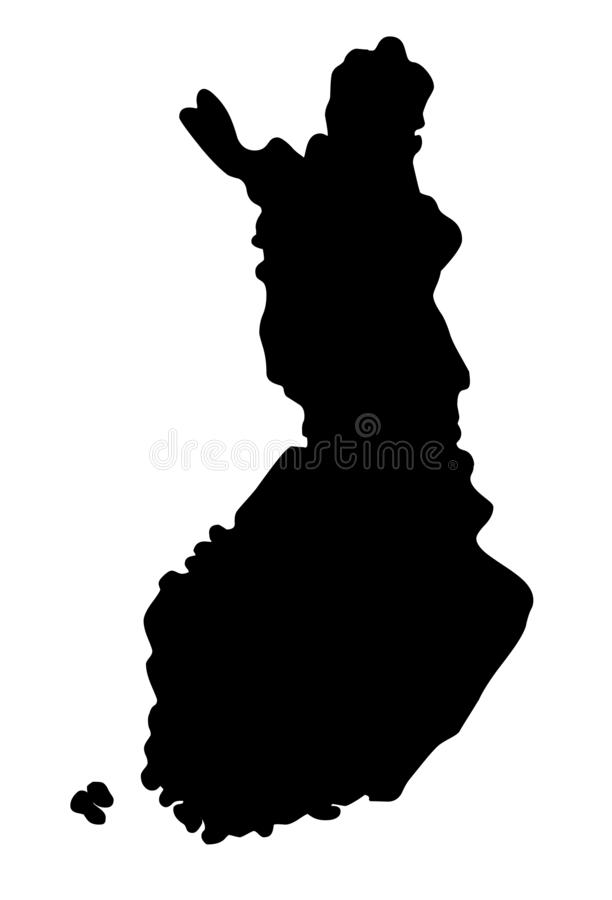 Finland map silhouette vector illustration. Isolated on white background vector illustration