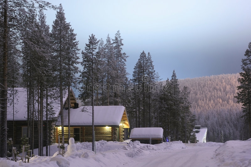 finland nattby royaltyfria bilder