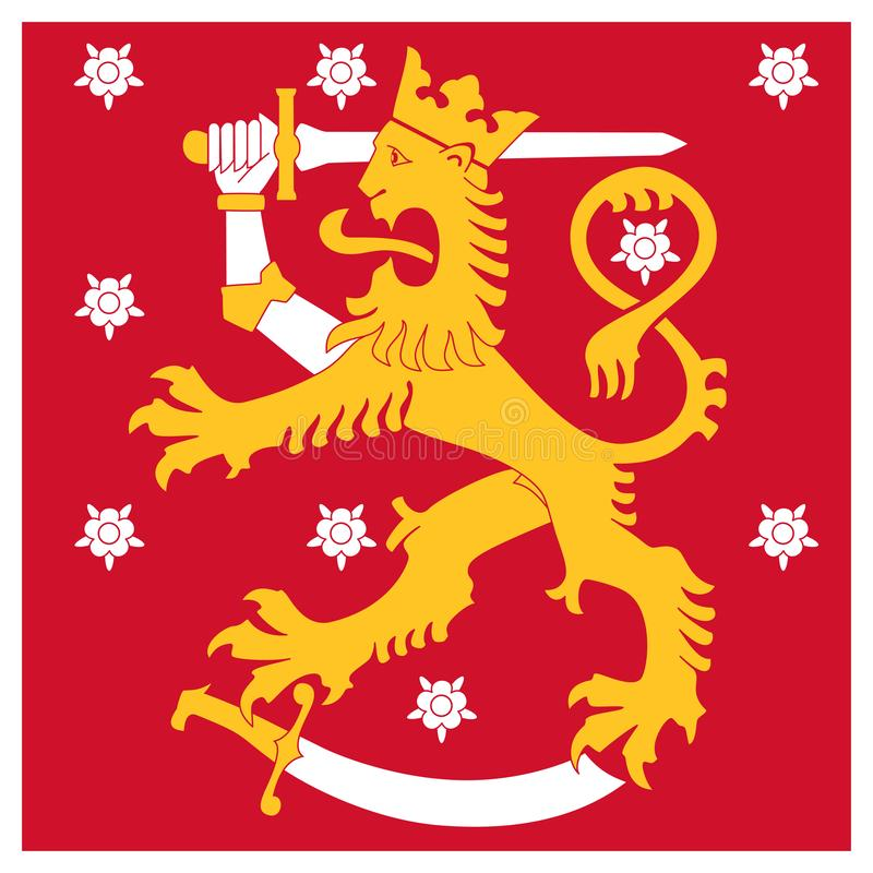 Finland Naval Jack flag, heraldic lion with sword walking on sabre, roses in background. stock illustration