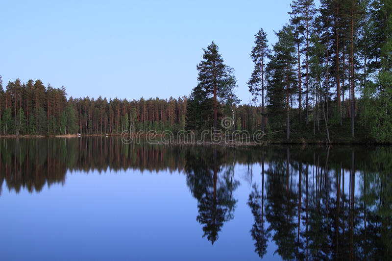 Finland: Night by a lake stock photo