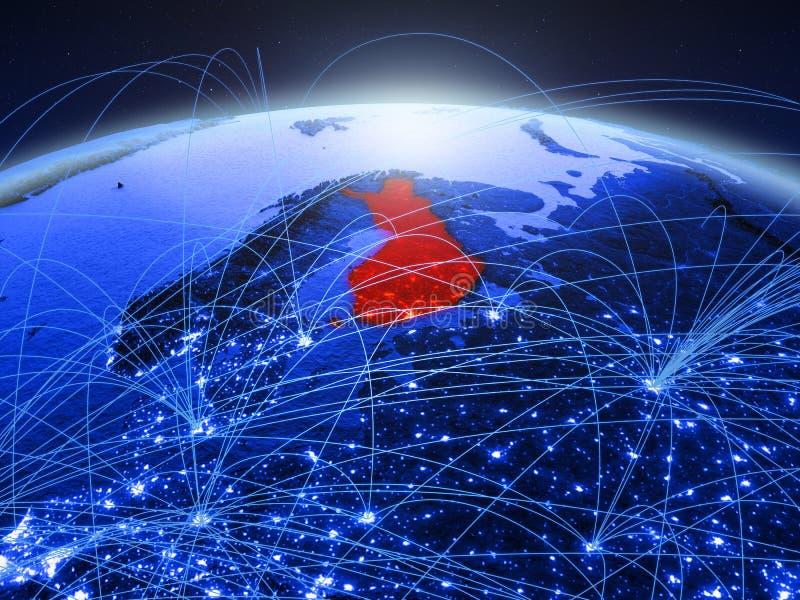 Finland op blauwe digitale aarde met internationaal netwerk die mededeling, reis en verbindingen vertegenwoordigen 3d stock afbeelding