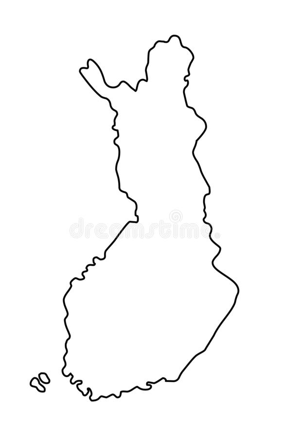 Finland outline map vector illustration. Isolated on white background vector illustration