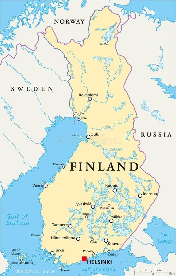 Finland politisk översikt royaltyfri illustrationer