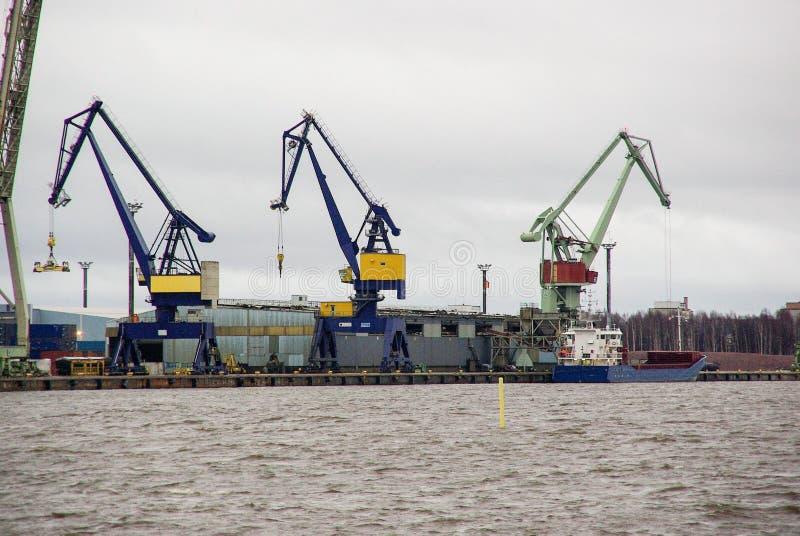 Finland, port Pori, steel pelicans, industrial landscape stock photos