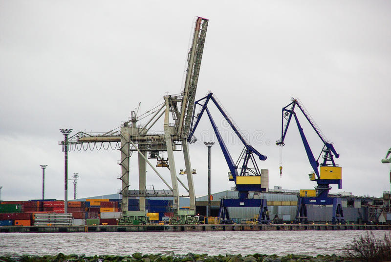 Finland, port Pori, steel pelicans, industrial landscape with lights stock photo