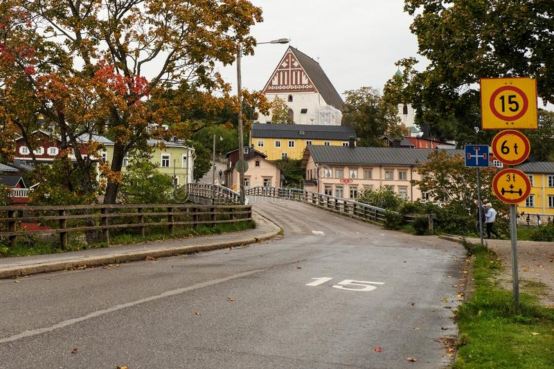 Finland. Porvoo. Houses and streets of Porvoo. September 21, 2018 stock images