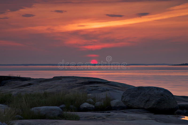 Download Finland: Red sunset stock image. Image of summer, colorful - 30486561