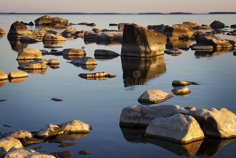 Finland: Rocky shoreline. Rocky shoreline in the island called Kallo near the city of Pori on the west coast of Finland by the Bothnia bay stock photos