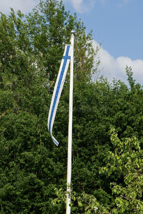 Finland& x27; s banderka na flagpole obrazy royalty free