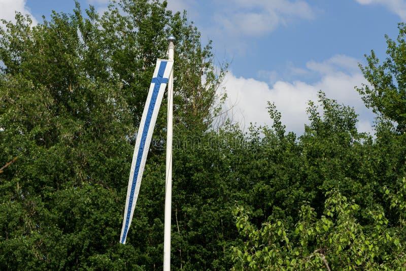 Finland& x27; s banderka na flagpole zdjęcie stock