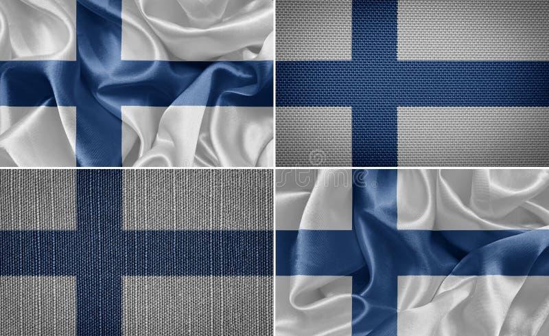 Finland flag. Finland set of cloth flags. flag vector illustration