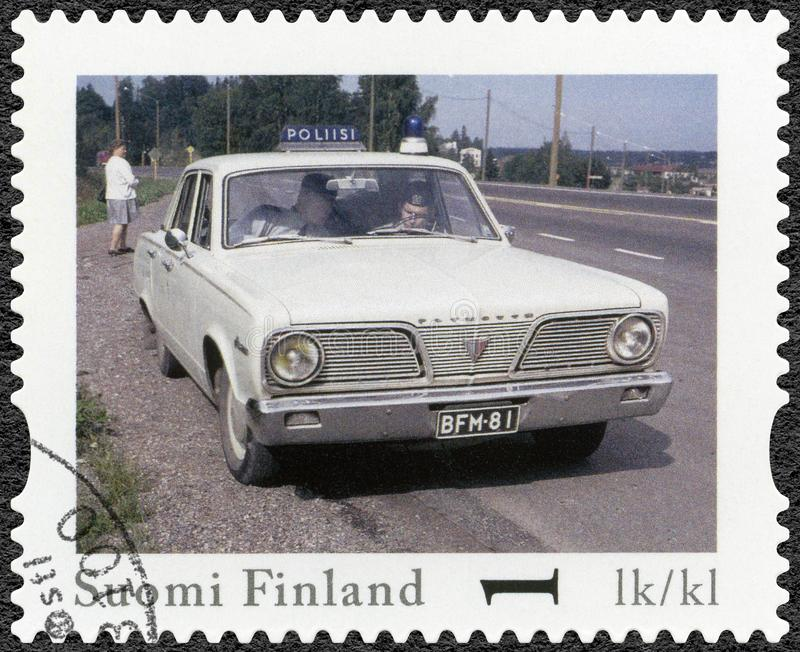 FINLAND - 2013: shows Plymouth Valiant, series Finland Official Vintage Police Car stock photos