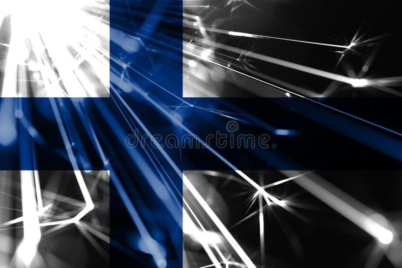 Finland skinande fyrverkerier som mousserar flaggan För partibegrepp för nytt år 2019 och för jul futuristisk skinande flagga vektor illustrationer